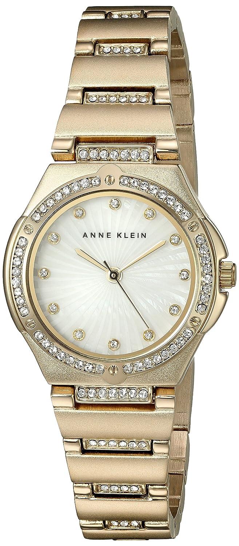 Anne Klein Damen Quarzuhr mit weißem Zifferblatt Analog-Anzeige und Gold Legierung Armband AK-n2416mpgb