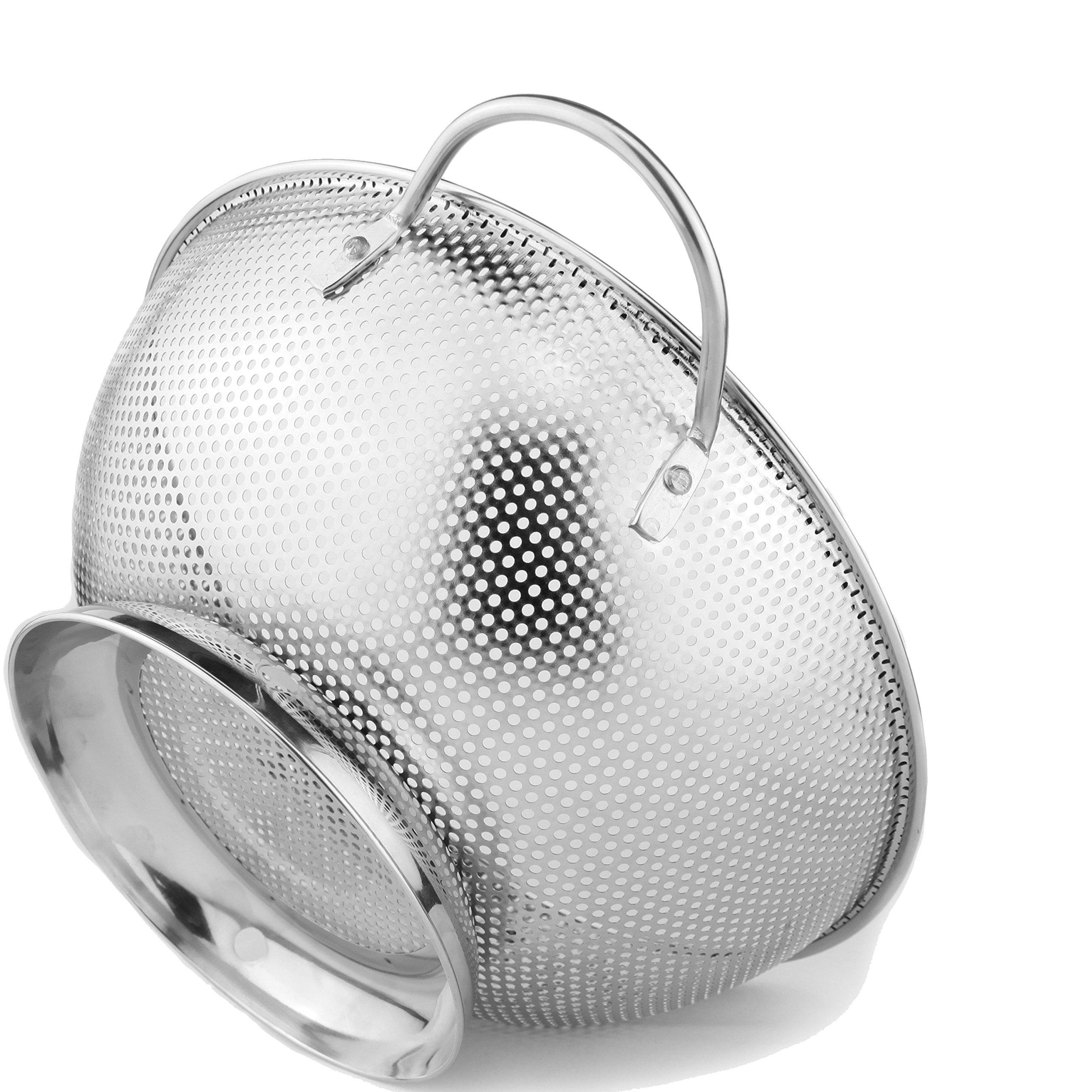 Colander Pro Stainless Steel 5-Quart Colander: Metal Pasta Strainer with Handles & Base - Large Strainer Basket for Pasta, Rice Noodles & More: Dishwasher�