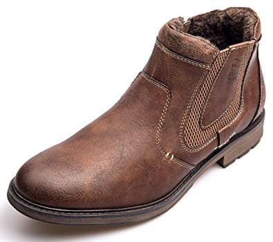 15d8975cb0e XPER Men's Chelsea Boots Fashion Brown Slip on Fur Lining Causal Ankle  Boots Retro Style Size 7-15