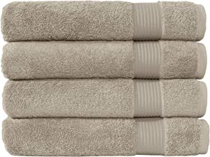 Classic Turkish Towels Luxury Bath Towels - Soft and Plush Hotel and Spa Quality 4 Piece Set Made with 100% Turkish Cotton (Beige)