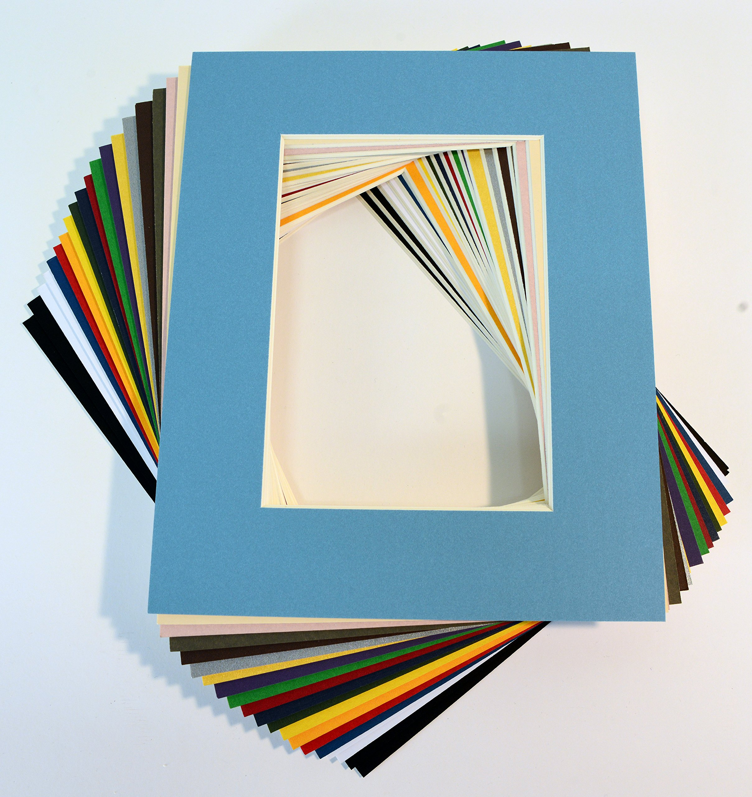 Pack of 20 MIXED COLORS 8x10 Picture Mats Matting with White Core Bevel Cut for 5x7 Pictures by Unknown