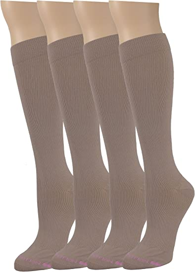 5 Pairs Dr Motion Therapeutic 8-15mm Compression Women/'s Knee-hi Socks Black
