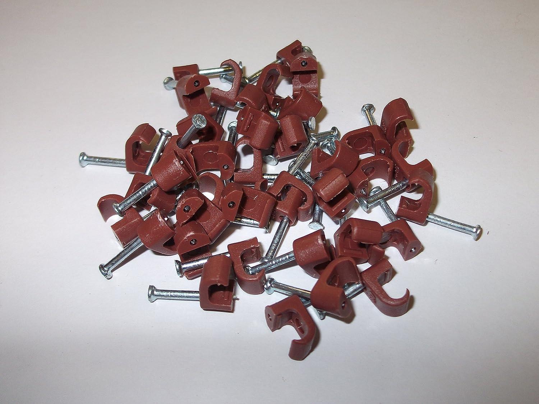 40/x 7/mm Brun rond Clips de c/âble coaxial avec fixation /à ongles d/éclairage Sockets rond r/ésistant de qualit/é