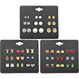 Finrezio 27 Pairs Multiple Stud Earrings for Women Girls Cute Animal-Face Crystals and Faux Pearl Earrings Set