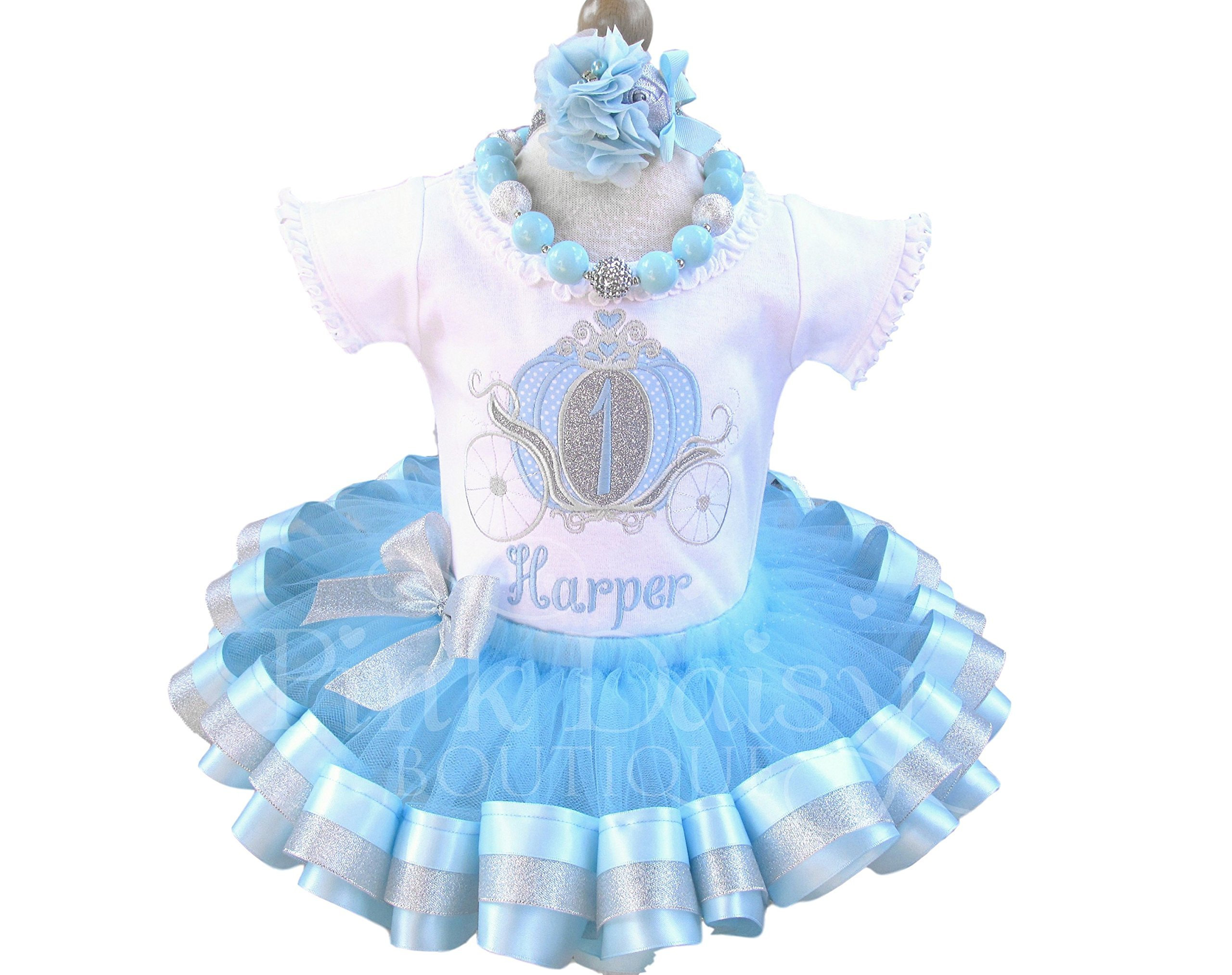 Princess Carriage Birthday Outfit in Blue and Silver with Personalized Shirt and Ribbon Trim Tutu