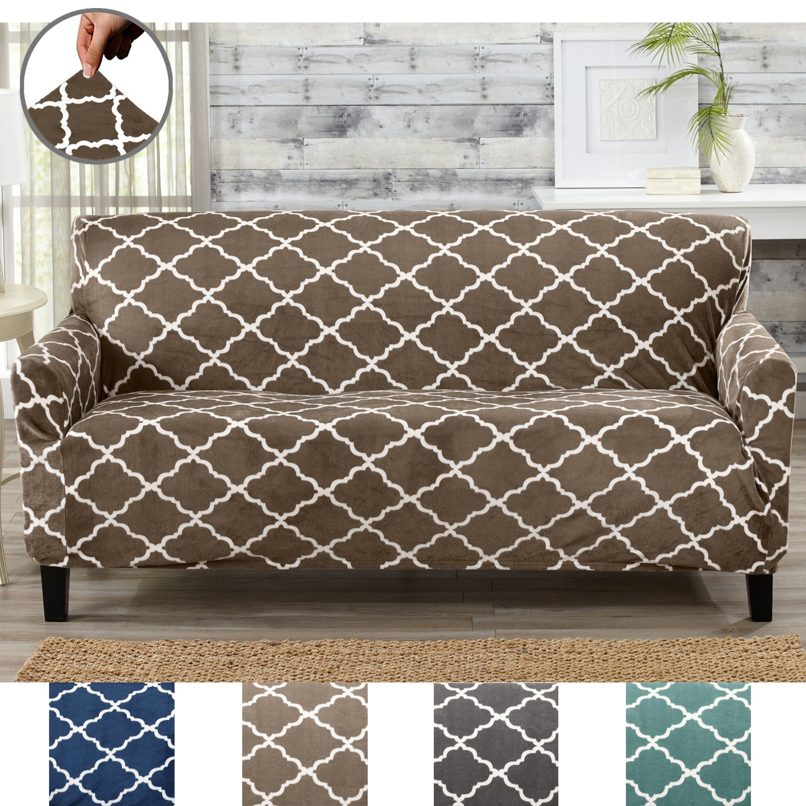 Great Bay Home The Pet Protector.Modern Velvet Plush Strapless Slipcover. Form Fit Stretch, Stylish Furniture Shield/Protector. Magnolia Collection Strapless Slipcover by Brand. (Sofa, Walnut Brown)