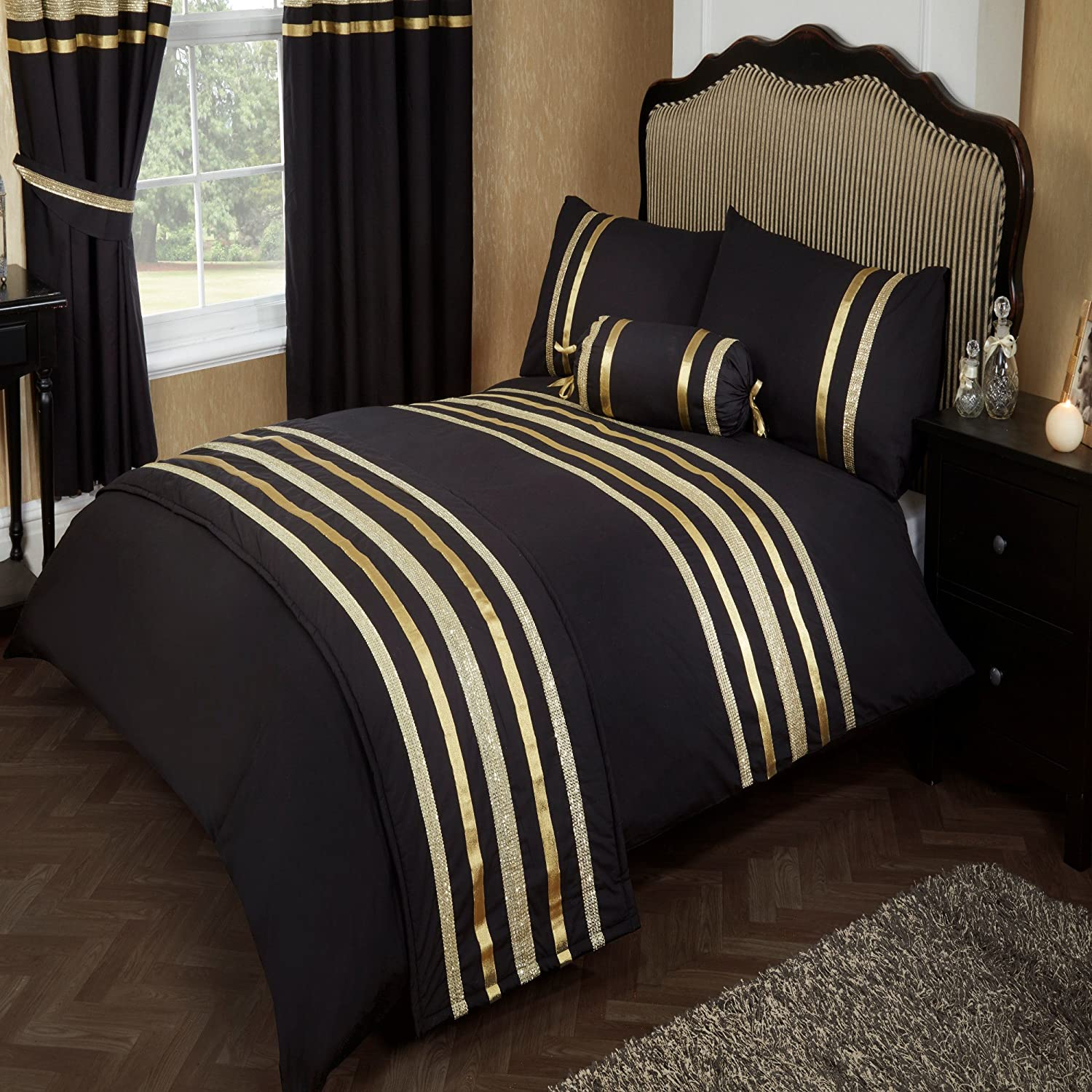 King Size Bed Glitz Black With Gold Trim Duvet Quilt Cover