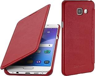 StilGut Book Type Case, custodia in pelle per Samsung Galaxy A5 (2016), Rosso nappa
