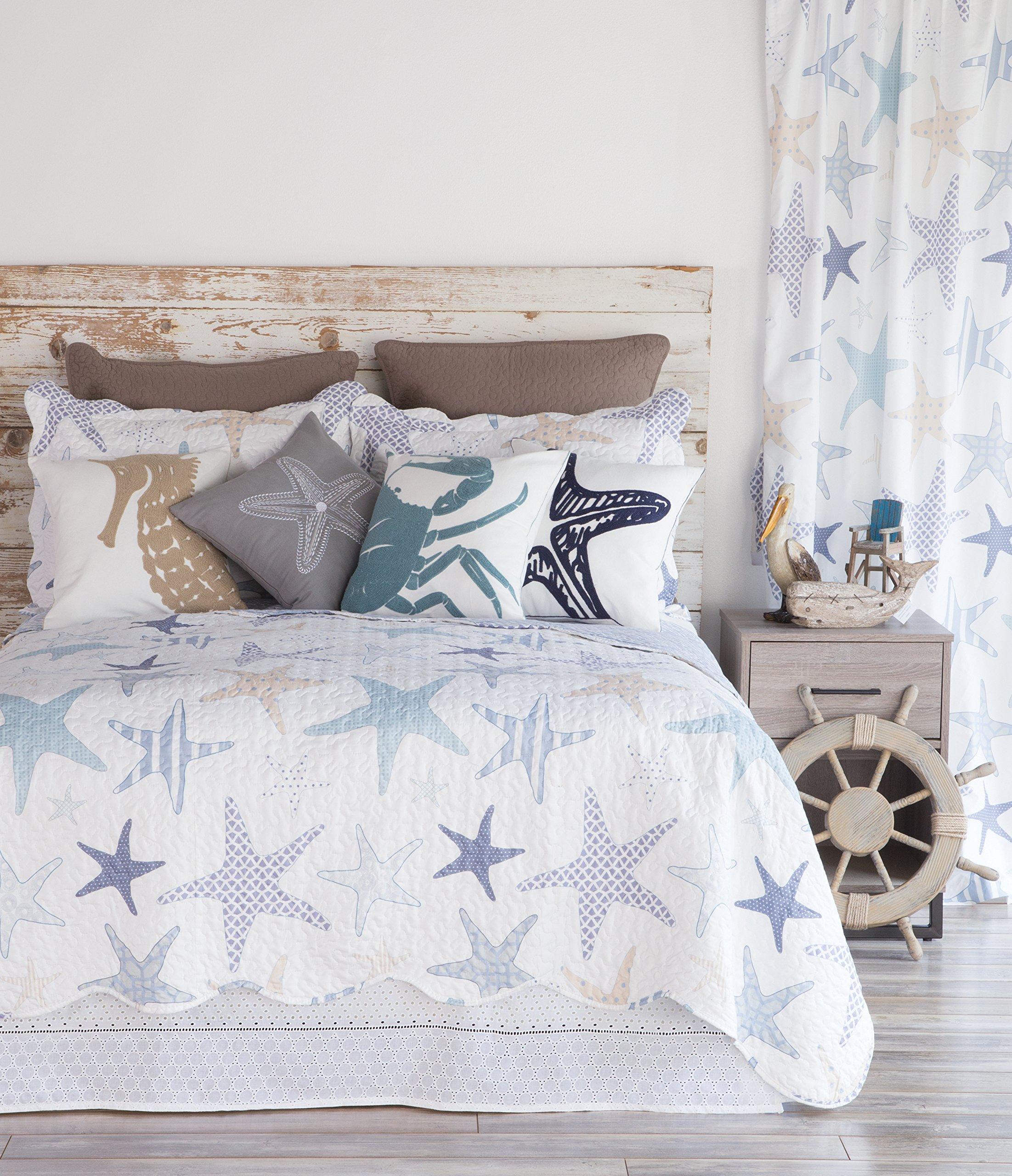 North End Decor Starfish Reef Coastal Quilt, Queen 3-Piece Bedding Sets, 92''x96'', White