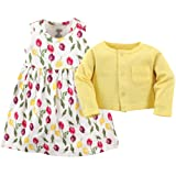 Luvable Friends Baby Girls' Dress and Cardigan