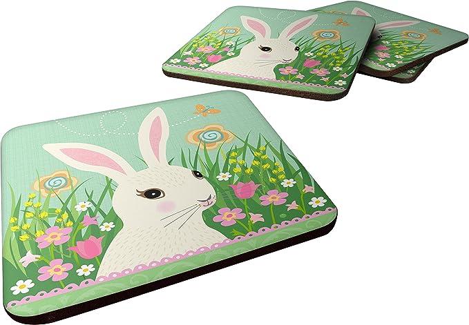 illustrated new home gift nature coaster wildlife coaster animal coaster set of coasters coaster set Rabbit Coaster