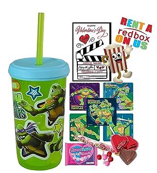 Teenage Mutant Ninja Turtles día de San Valentín Redbox película noche Fun Sip vaso de recuerdo