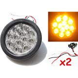 "2 Amber 4"" Round LED Turn Tail Signal Light Kit with Grommet Plug, 12 Diode Clear Lens"