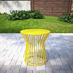 Novogratz 88068YLW1E Poolside Roberta Outdoor Side Table, Yellow