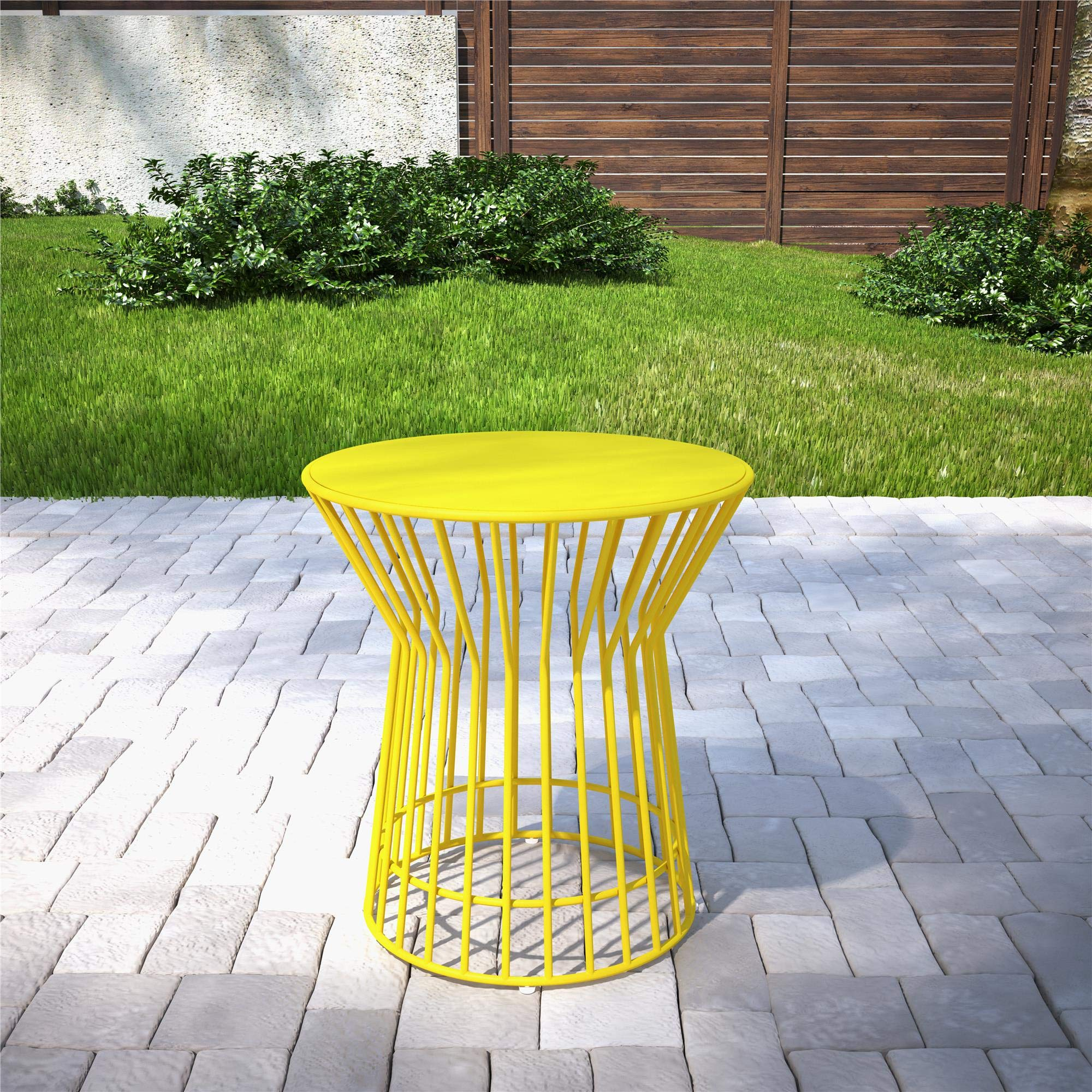 Novogratz 88068YLW1E Poolside Roberta Outdoor Side Table, Yellow
