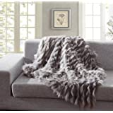 """Orient Home Collection De Moocci Luxury Faux Fur Throw Blanket, Eyelash Pattern Spring Summer Colors Extra Warm Breathable Cozy Warm for Winter– Decorative Furry Throw for Couch Bed (50'' x 60"""" Grey)"""