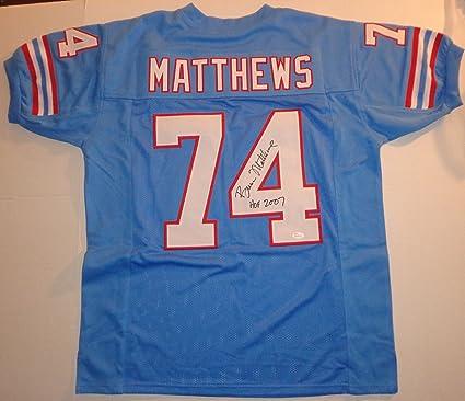 best service fafe1 37e61 Bruce Matthews · Hand Signed Oilers Football Jersey w/ JSA ...