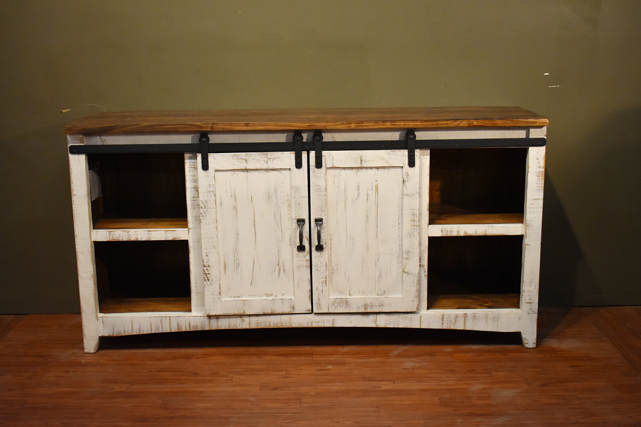 Crafters and Weavers Granville White 67'' TV Stand / Sideboard / Console Table with Sliding Barn Doors by Crafters and Weavers (Image #2)