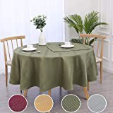 """RANDALL Holiday Round Tablecloth 70"""" Waffle Stripe Water Resistant Dust-Proof Table Cover for Kitchen Dinning Party Farmhouse"""