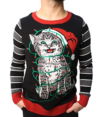 ugly christmas sweater teen boys cat lights led light up sweatshirt xl black