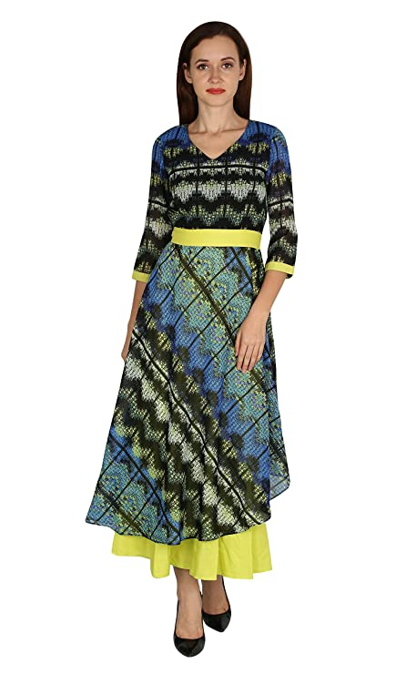Meen Blue  Lemon georgette dress Dresses