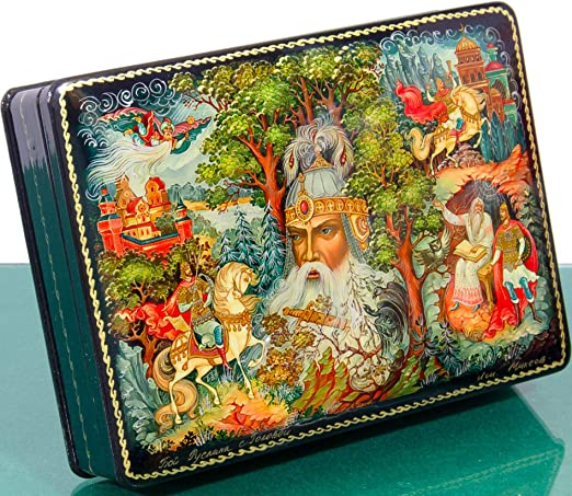 NEW Russian Fairy Tale Hand Painted Lacquer Jewelry Box  Hand Made In Russia
