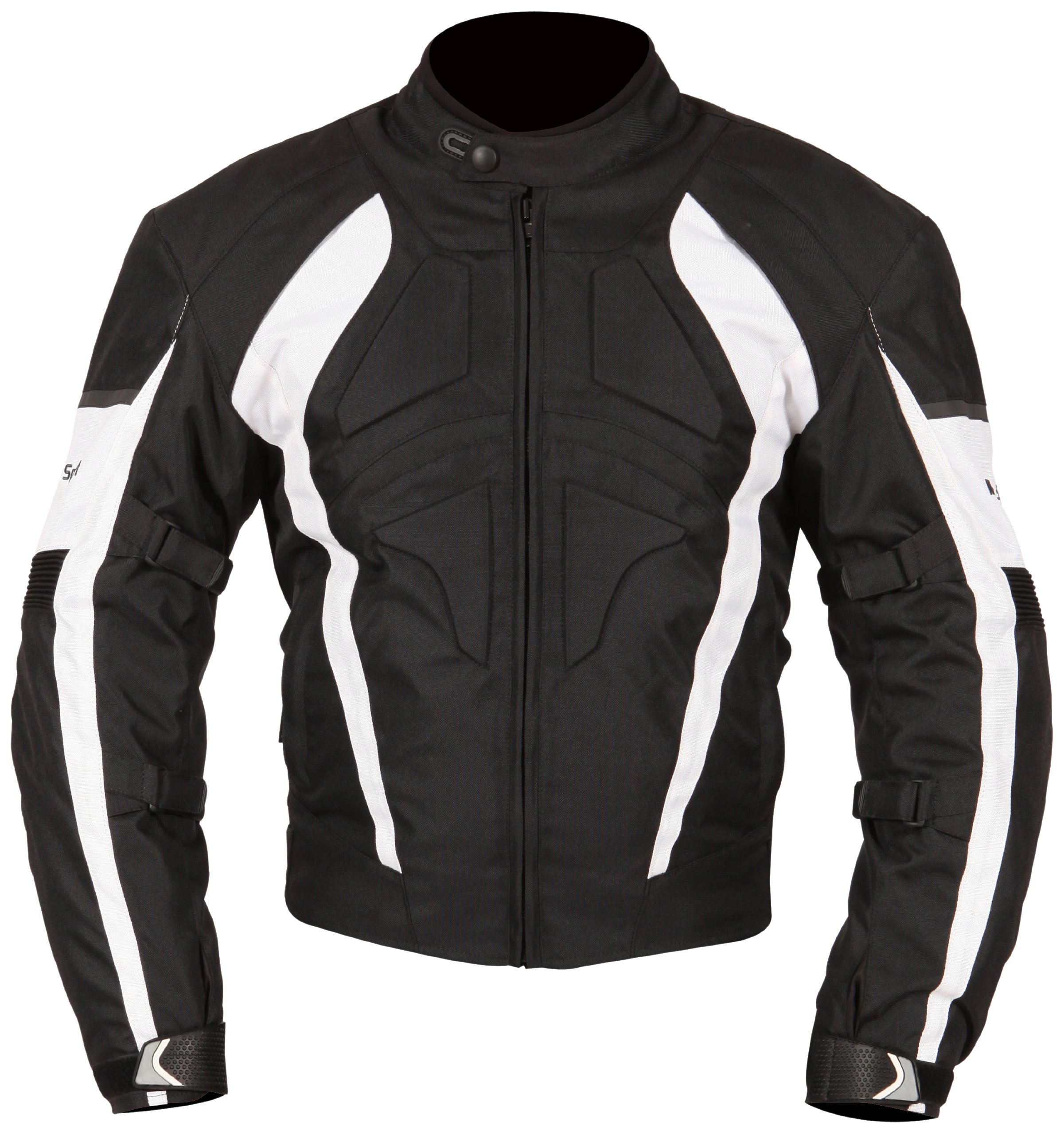 Milano Sport Gamma Motorcycle Jacket with White Accent (Black, Small)