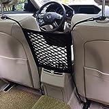 Dimik Universal Car Seat Storage Mesh/Organizer - Mesh Cargo Net Hook Pouch Holder for Bag Luggage Pets Children Kids Disturb Stopper (Single Layer)