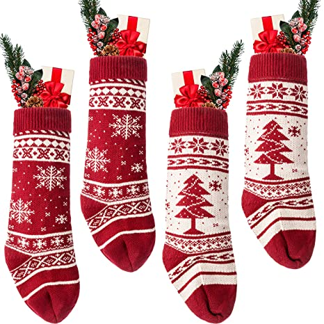 78d72b15e Image Unavailable. Image not available for. Color  Blulu 18 inch Large Knit  Christmas Stockings ...
