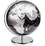 Exerz 30CM Mappamondo/World Globe/Globo in Inglese - Decorazione Desktop/Educazione/Geografica/Moderna - Con Base in Metallo - Nero Metallizzato