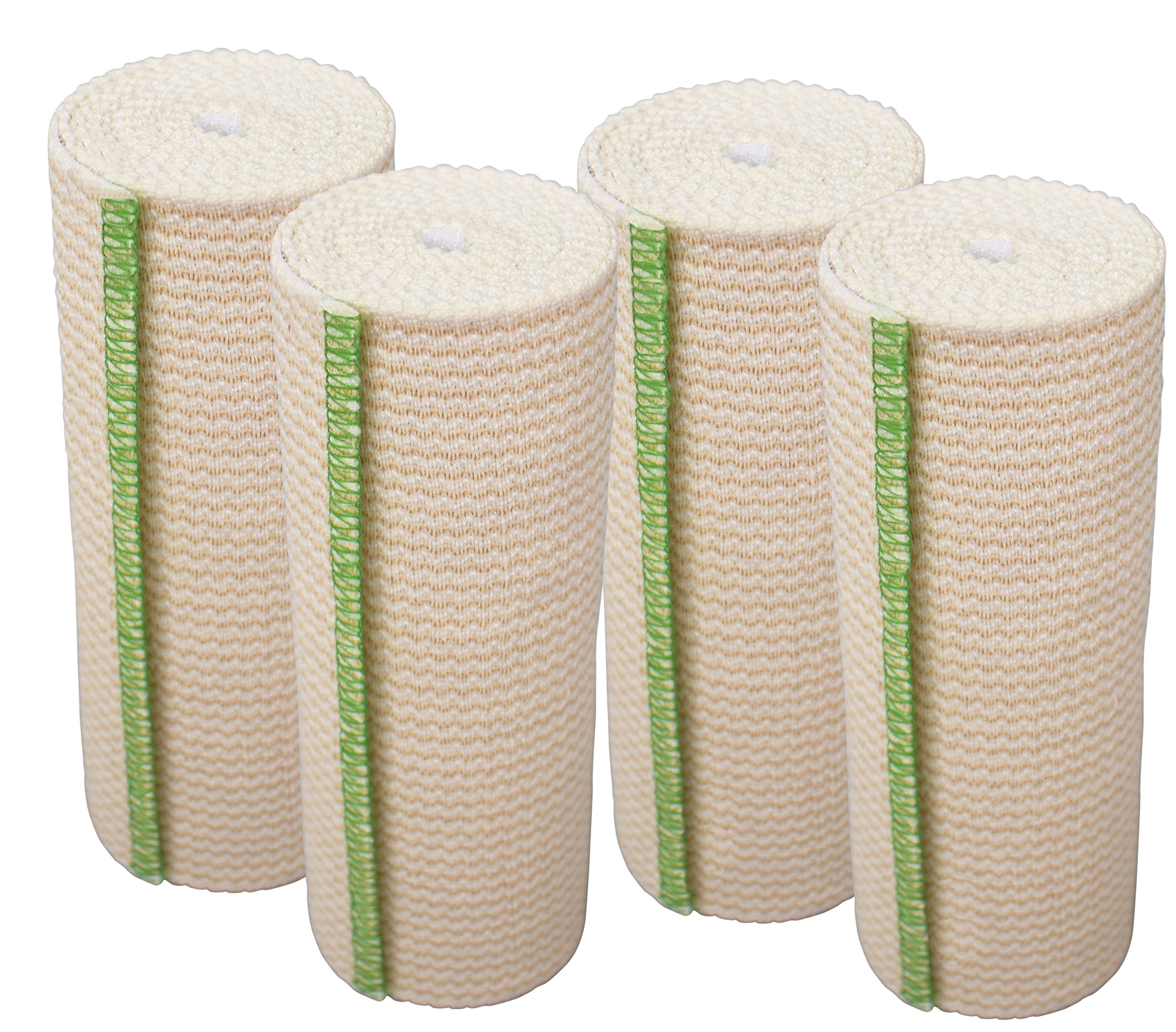 GT Cotton Elastic Bandage with Hook and Loop Closure, 6'' Width - 4 Pack