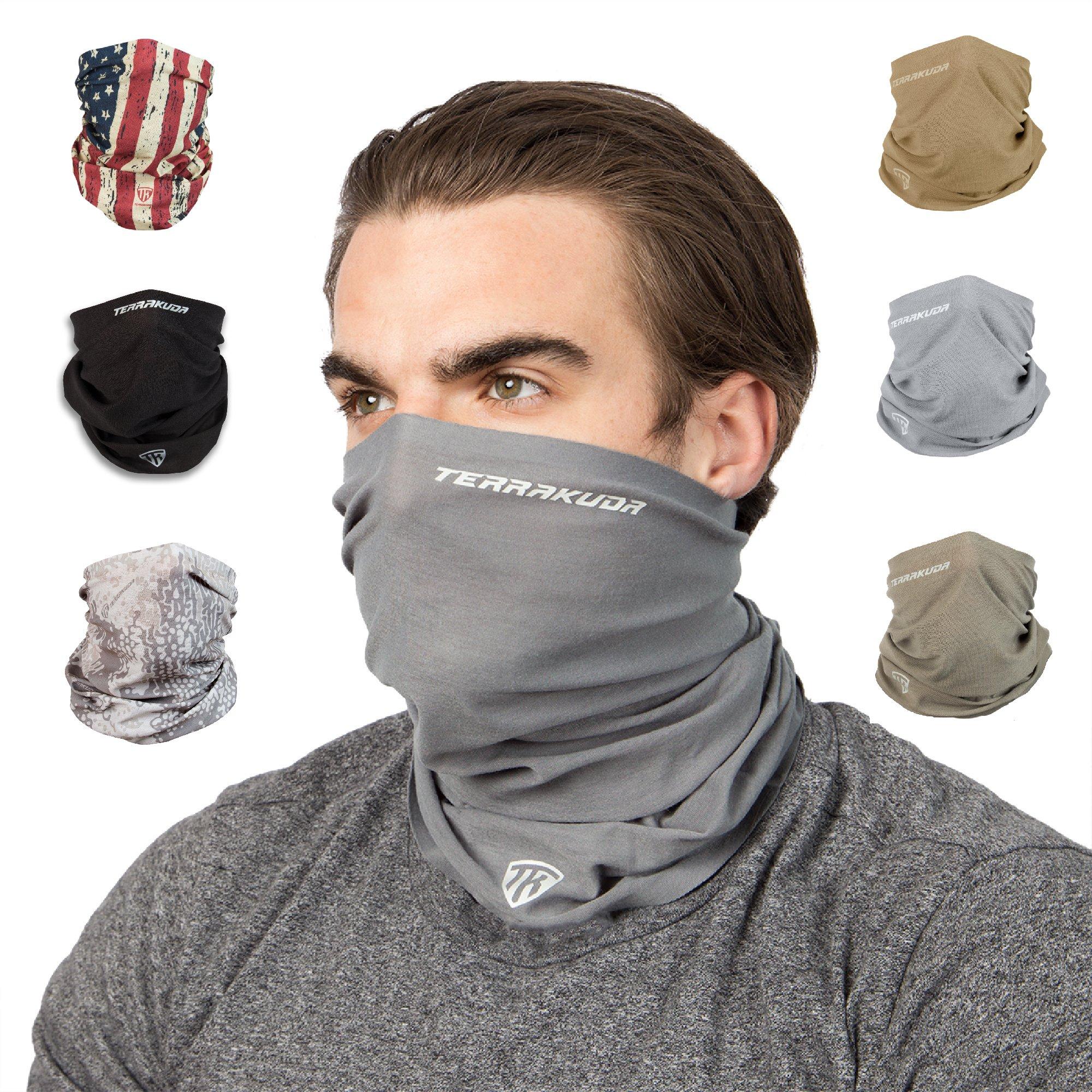 Terra Kuda Face Clothing Neck Gaiter Mask - Non Slip Light Breathable for Sun Wind Dust Bandana Balaclava (Wolf Grey) by Terra Kuda