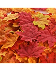 Hotop 300 Pieces Maple Leaves Artificial Maple Leaves Autumn Fall Colored Leaves for Art Scrapbooking Wedding Decorations Halloween Party Thanksgiving Day Decor (Multicolor)