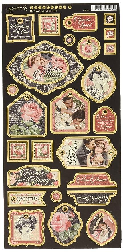 Amazon Com Graphic 45 4501215 Mon Amour Decorative Chipboard