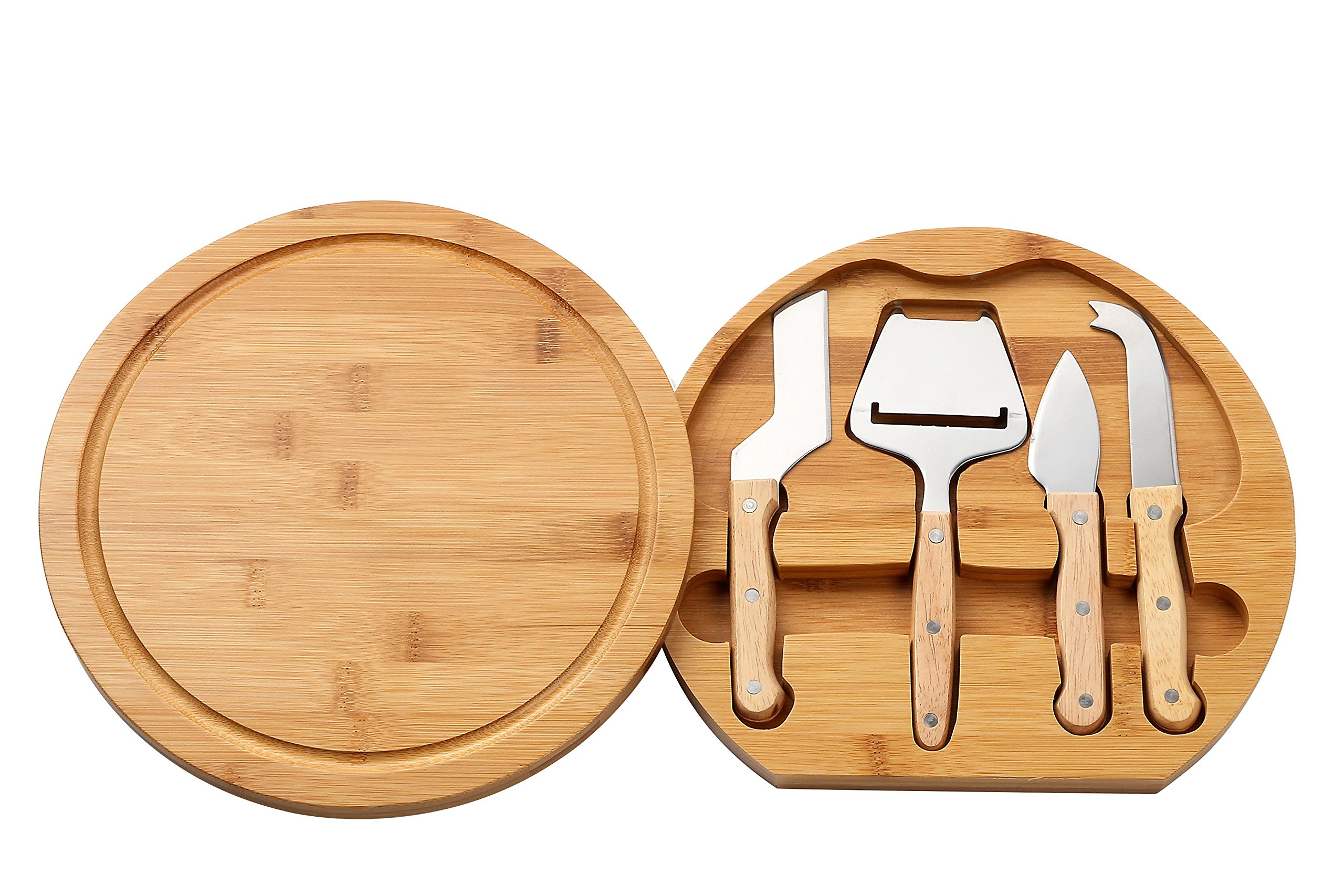 Cheese Board Set - Charcuterie Board and Cheese Tools, Cheese and Meat Board, Includes 1 Bamboo Cutting Board and 5 Piece Knife Tools, 10.2'' x 10.2'' x 1.5''