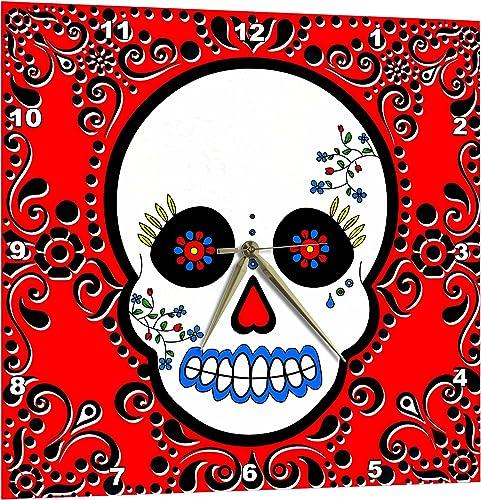 3dRose Day of The Dead Skull Dia De Los Muertos Sugar Skull Red Black Scroll Design – Wall Clock, 13 by 13-Inch DPP_28866_2