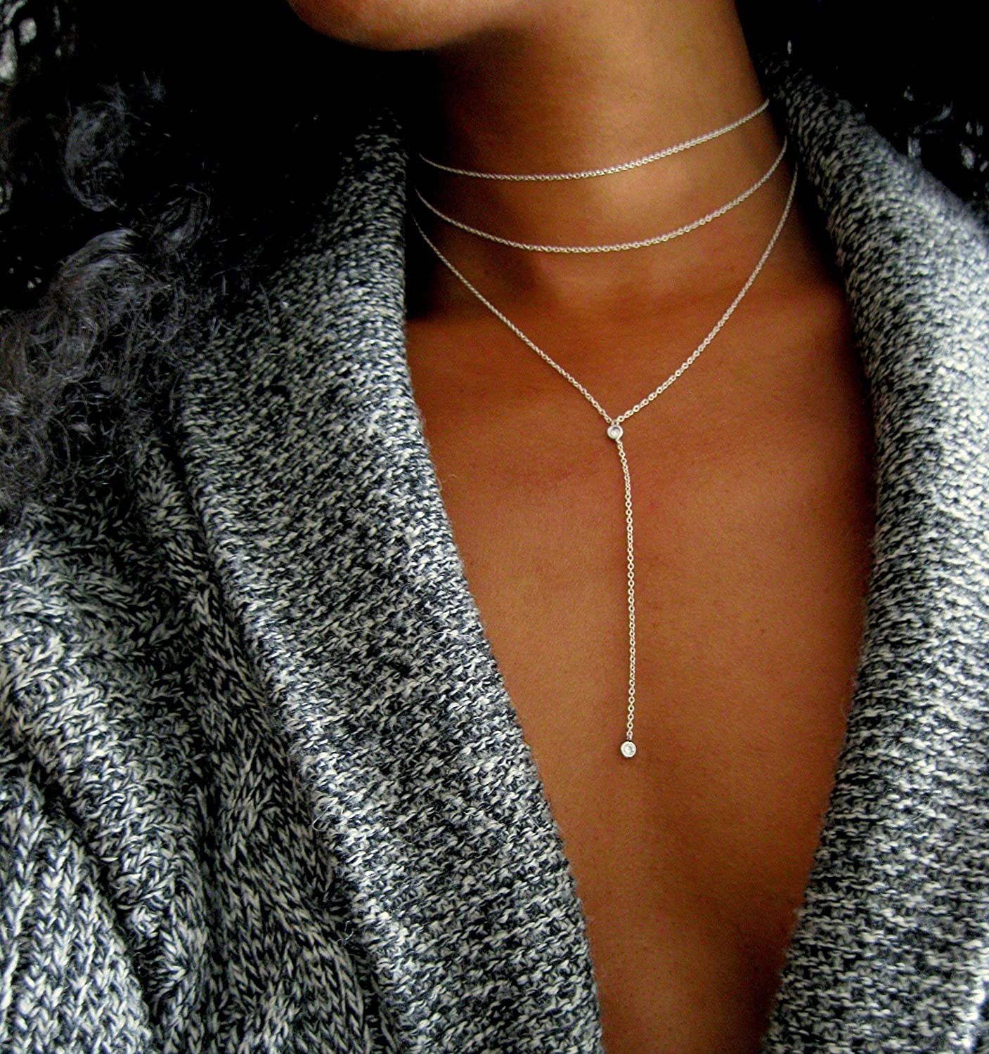 Sterling Silver Y Necklace Diamond Lariat Handmade layered choker, bridal jewelry for women in 16
