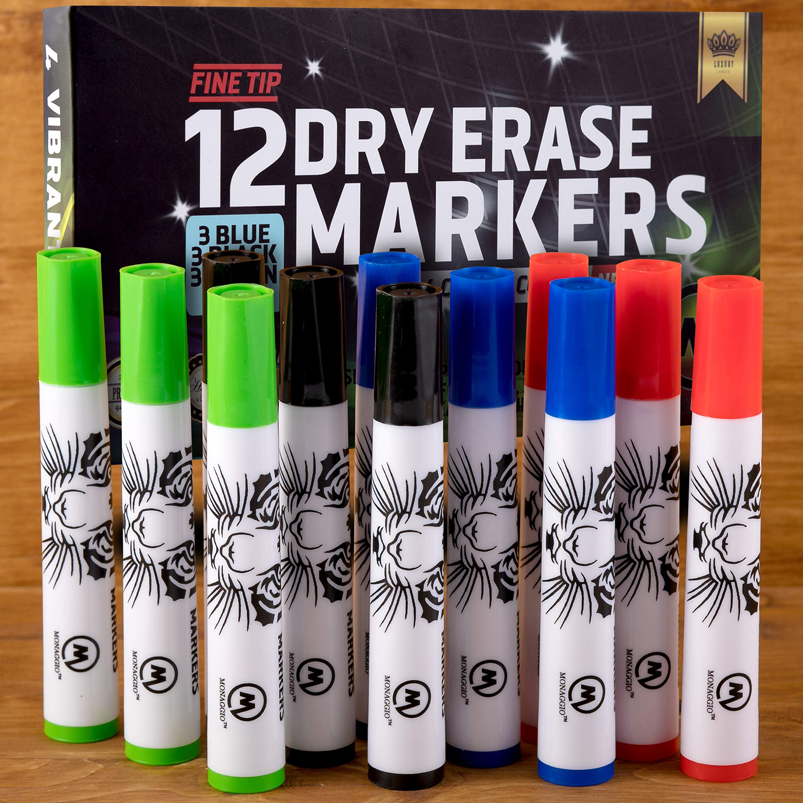 Dry Erase Markers Whiteboard Marker Pens Set Fine Point for Kids School Erasable Pen Tip White Board Eraser Calendar Erasers Children and Office Supplies Black Red Blue Neon Green Purple Colors