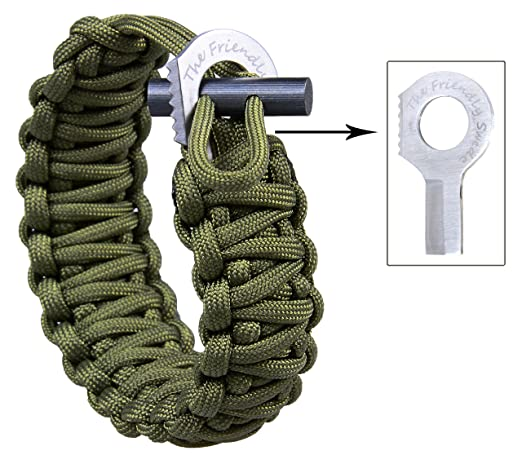 The Friendly Swede Adjustable Premium Paracord Bracelet with Fire Starter and Hidden Eye Knife