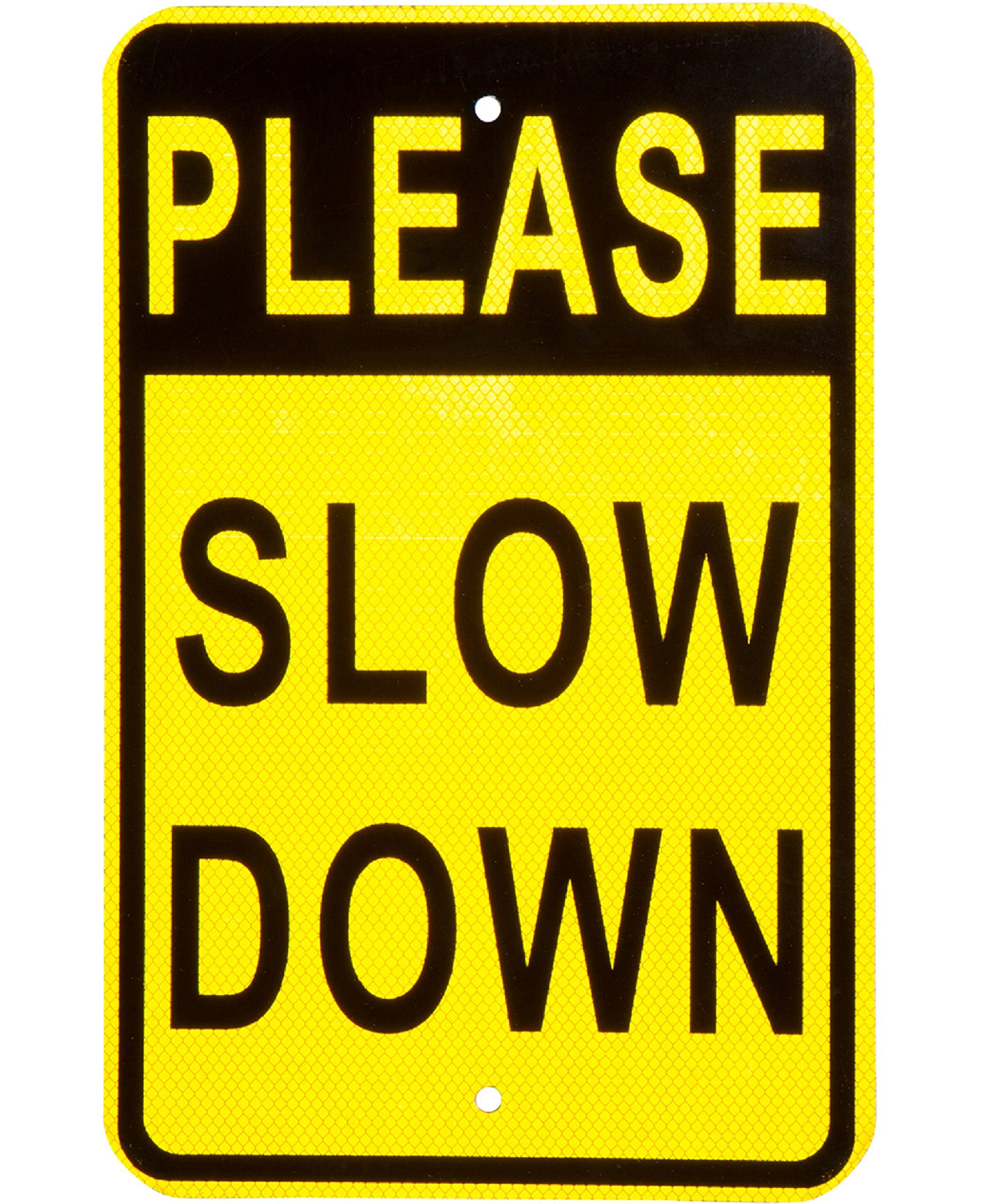 Please Slow Down Sign Heavy Duty Aluminum and Reflective Face Great for Neighborhood Streets and Yard Signage for Children Playing Increase Street Safety to Prevent Speeding Or Warn Drivers of Pets