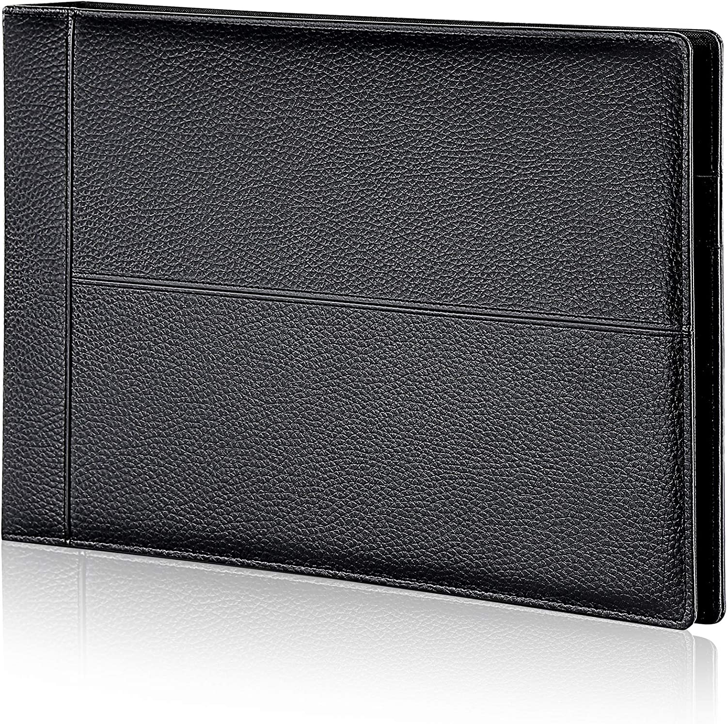 "7 Ring Executive Business Check Binder 600 Checks Capcity for 9"" x 13"" Sheets, PU Leather Checkbook Holder with Zip Pouch"