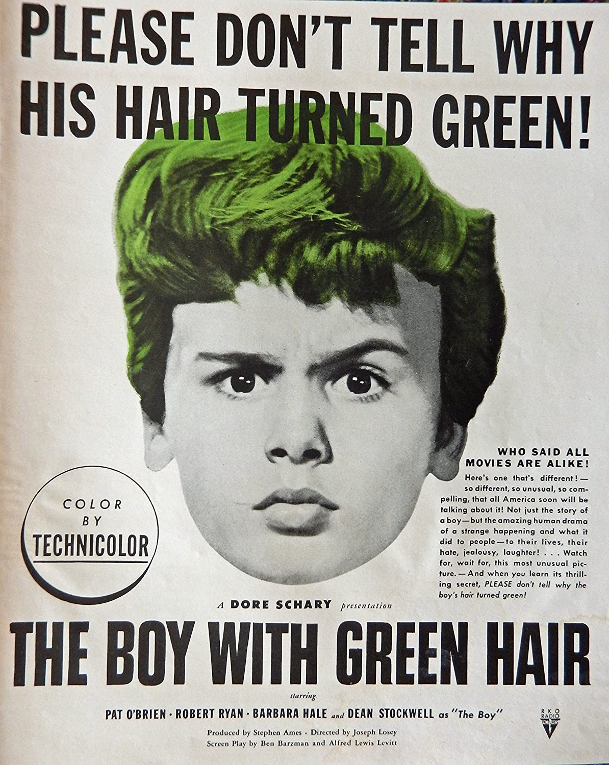 Amazon The Boy With Green Hair Original Movie Poster 40s