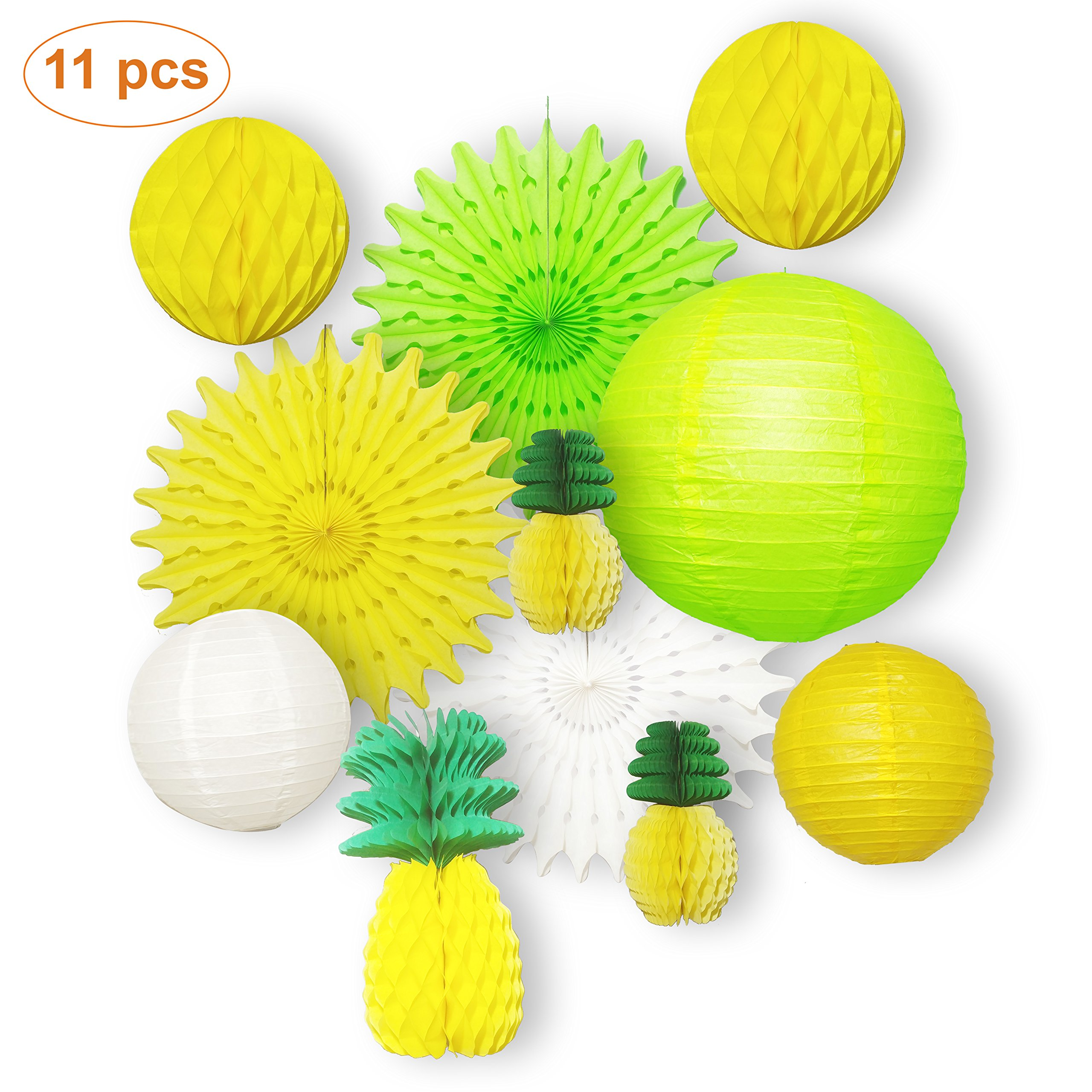 11 pcs Summer Party Honeycomb Pineapple Ball For Tropical Hawaiian Luau Party Festival Paper Lantern Paper Fan Decoration by ColdSheep Party Supplies