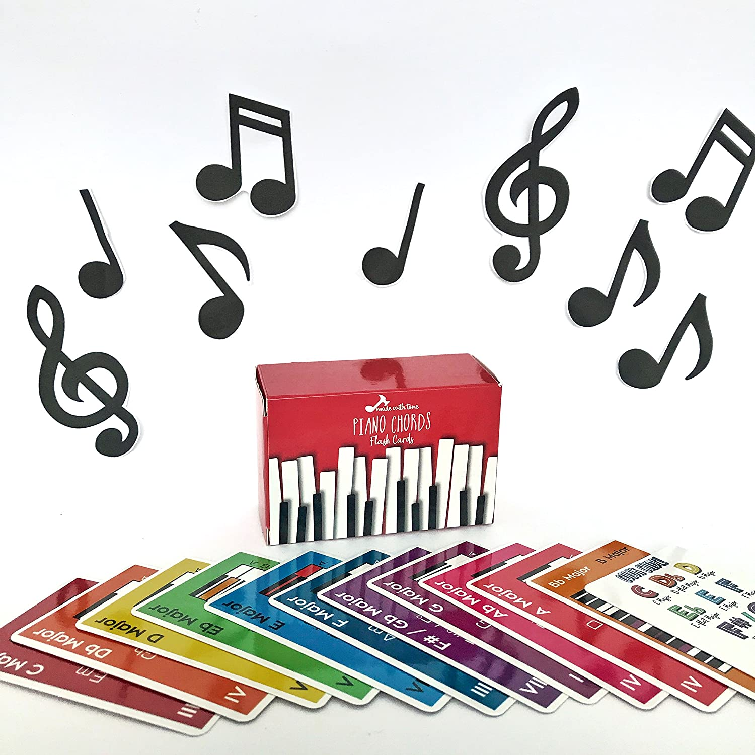 Amazon made with tone piano chords flash cards a great gift amazon made with tone piano chords flash cards a great gift for music lovers and beginner musicians all the major chords and notes for keyboard hexwebz Gallery