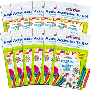 World of Eric Carle Coloring Pack Party Favors ~ Set of 12 Eric Carle Play Packs with Stickers, Crayons and Coloring Activity Book in a Resealable Pouch