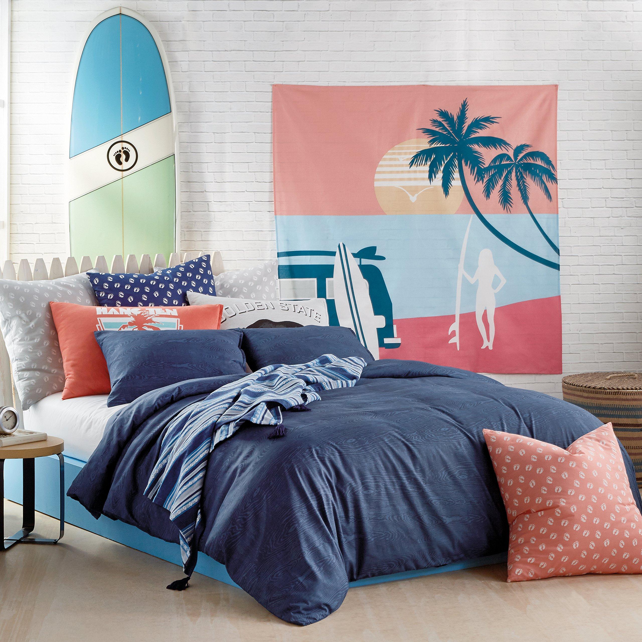 Hang Ten Woodgrain Reversible Comforter Set, Navy, Full Queen