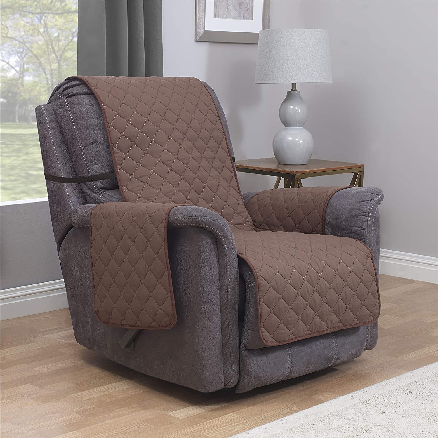 "Furniture Fresh Waterproof Recliner Armchair Protector | Microfiber Slipcover | Premium Elastic Stay-Put Strap | Cover Protects from Dogs & Other Pets (Recliner, up to 23"" seat Size, Chocolate): Home & Kitchen"