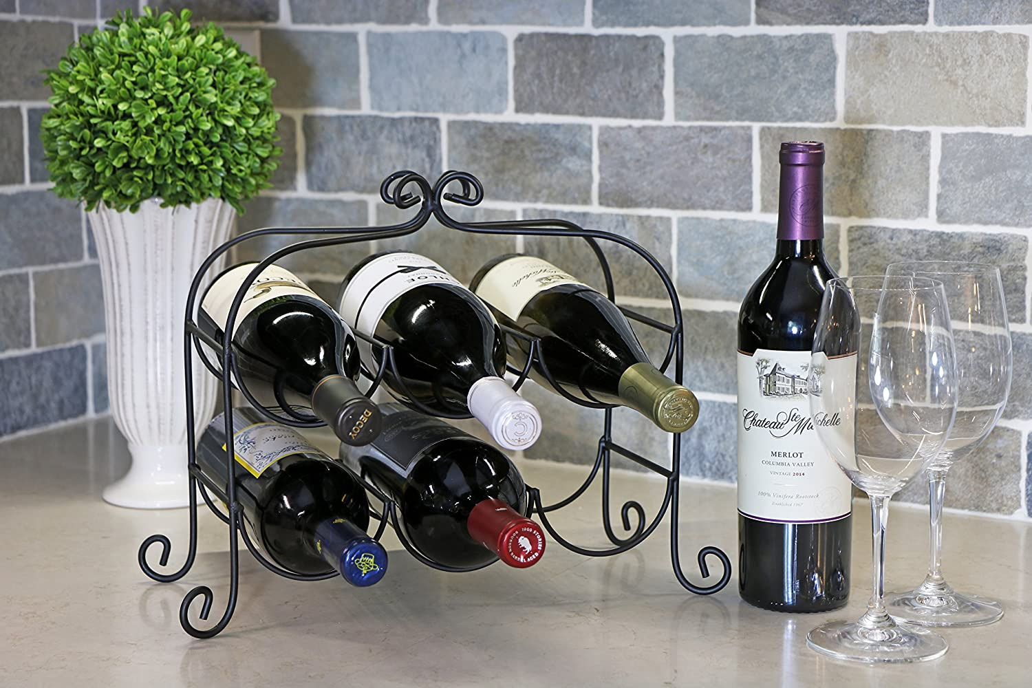 Amazon Com Kitchenedge Annabel 6 Bottle Metal Wine Rack For Tabletop Or Countertop Free Standing Metal Black Home Kitchen
