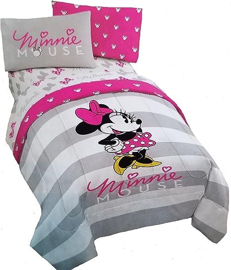 Disney Minnie Mouse 4 piezas rosa y gris reversible doble