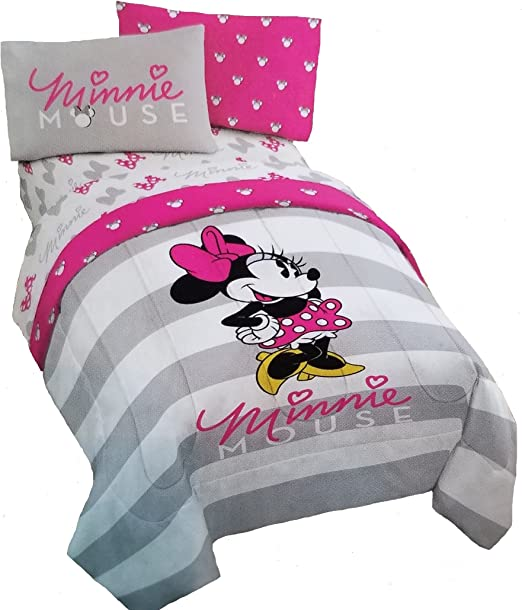 Amazon Com Jay Franco Disney Minnie Mouse 4pc Pink Gray Reversible Twin Size Comforter And Sheet Set Home Kitchen